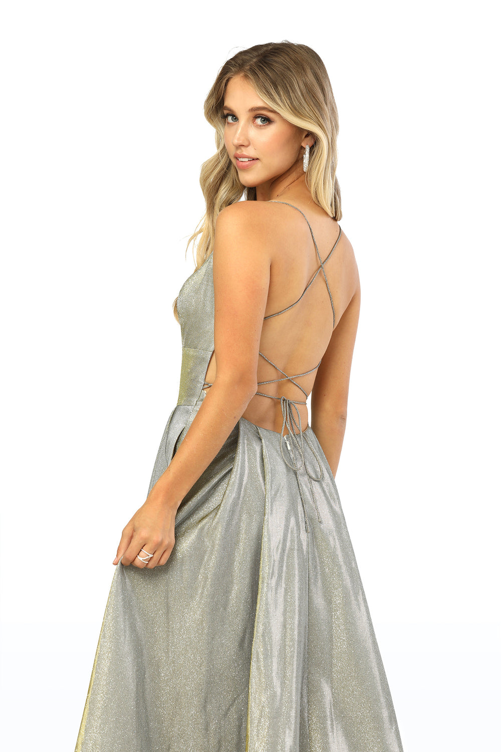 Square-Neck With Open Back Glitter Fabric_C241 BY NARIANNA