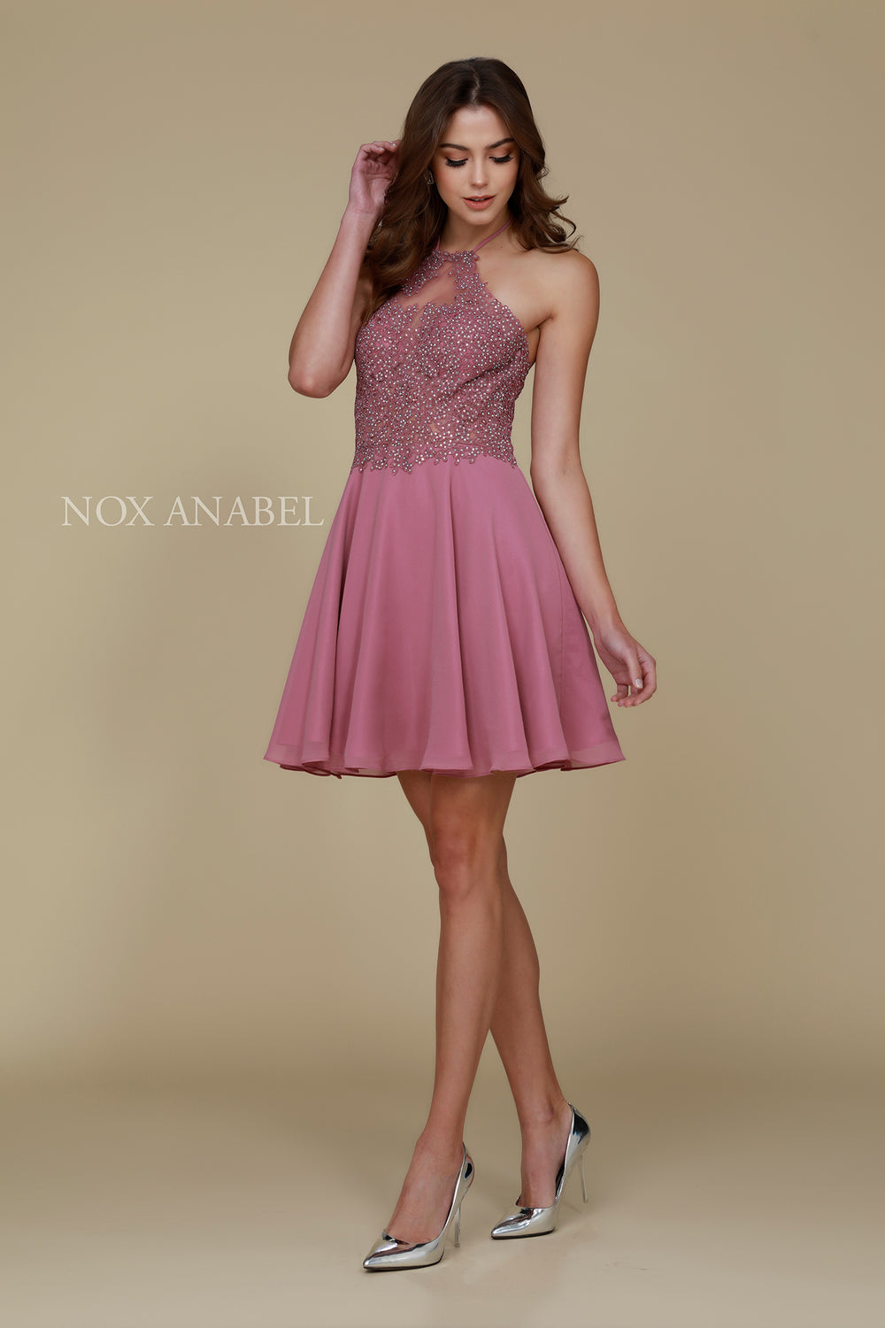 MID-OPEN BACK APPLIQUE HALTER NECK A-LINE PROM DRESS_G657 BY NARIANNA
