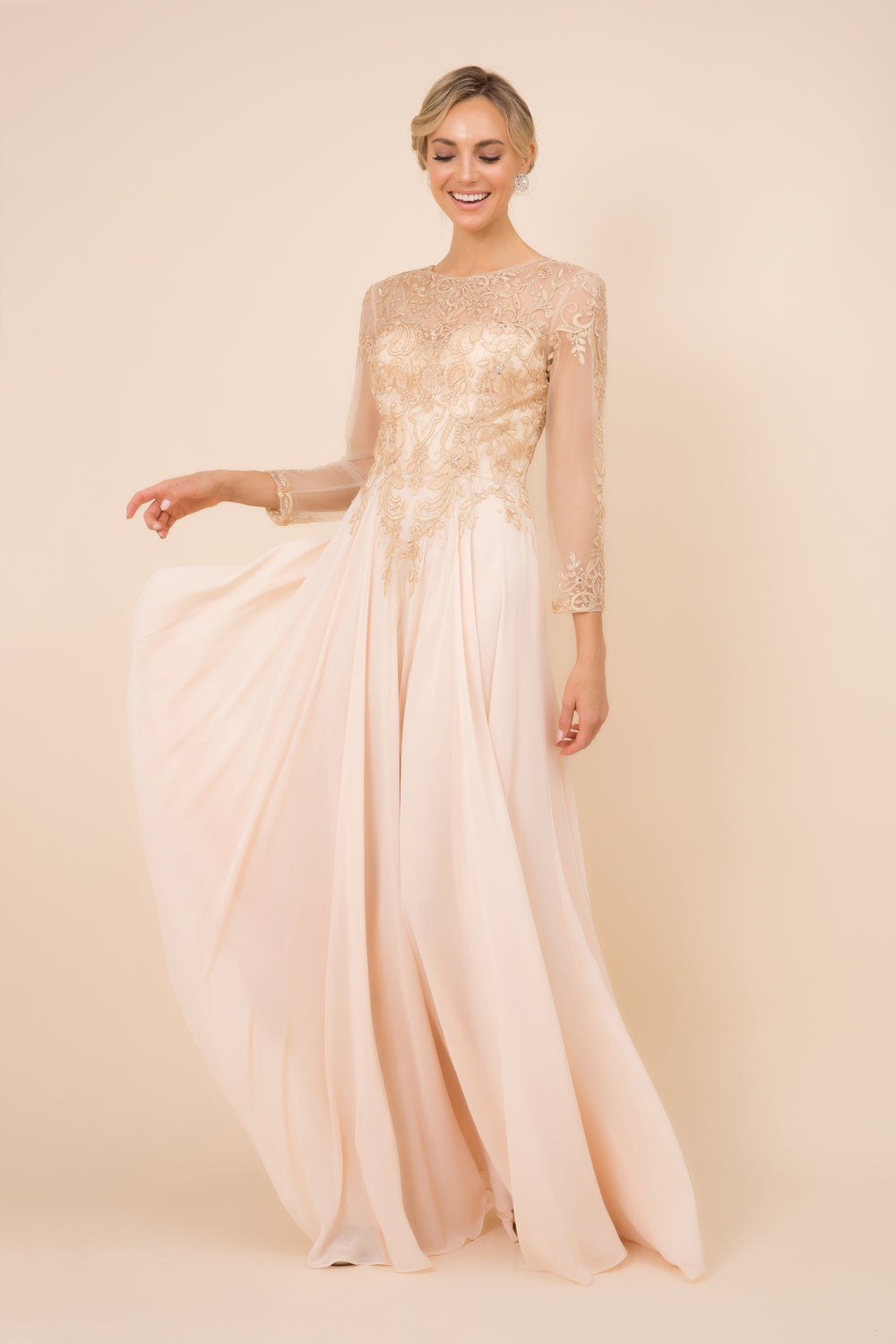 H529 - 3/4TH SLEEVE CHIFFON GOWN WITH FLOOR LENGTH SKIRT_H529 BY NARIANNA