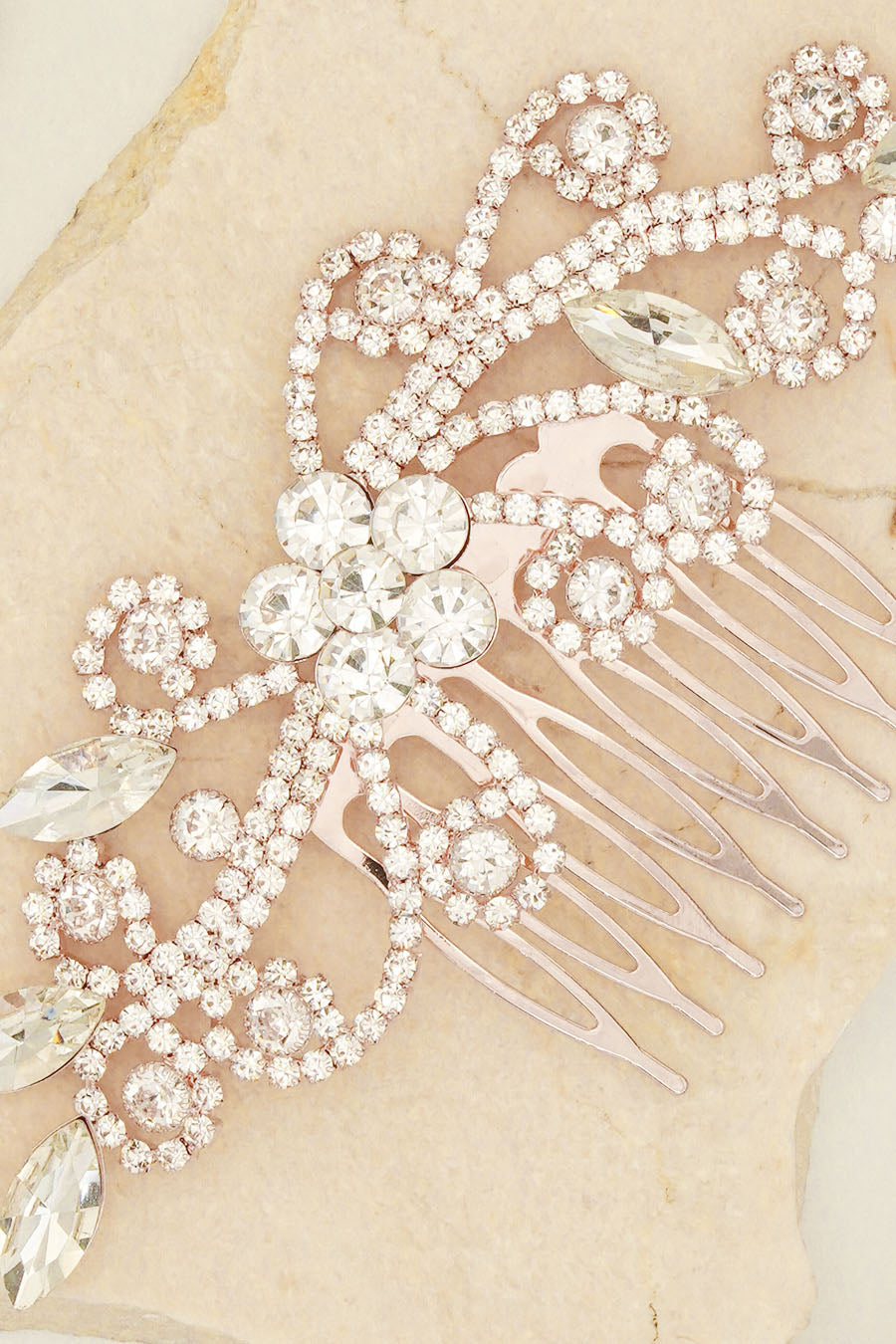 TEARDROP RHINESTONE AND SMALL DIAMANTES HAIR COMBS BRIDAL HEADPIECE FOR WEDDING PARTY BY NARIANNA