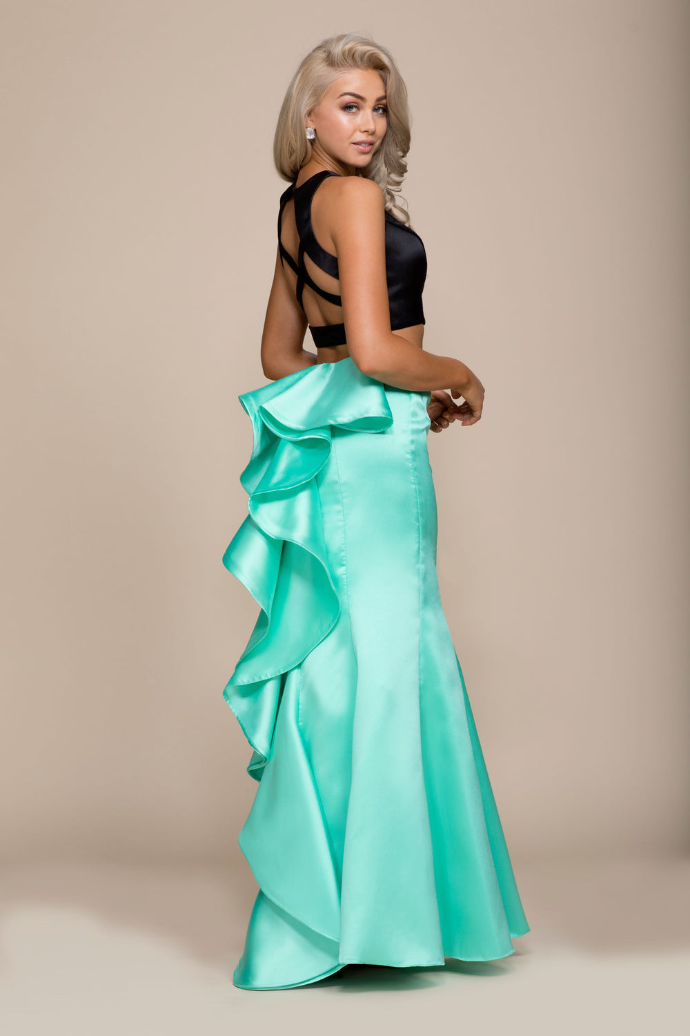 TWO-PIECE JEWEL TRUMPET MERMAID PROM DRESS WITH RUFFLE BACK 8292 BY NARIANNA