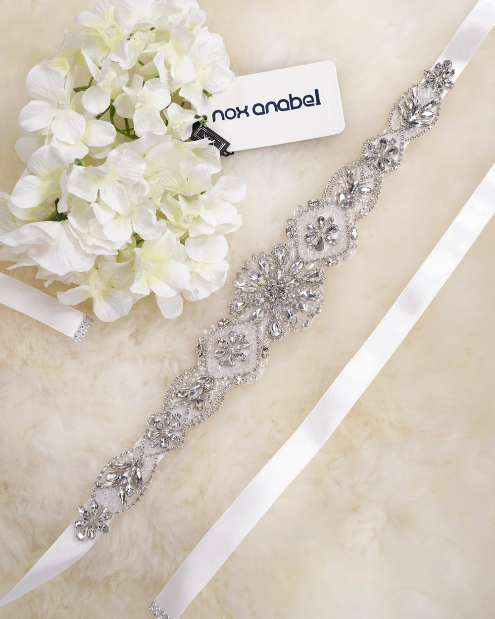 CLASSICAL RHINESTONE & CRYSTALS ACCENTED BRIDLE BELT WEDDING SASH