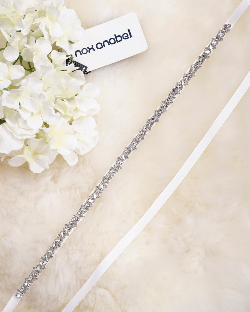 LEAVES SHAPE SLEEK SPARKLY RHINESTONE BRIDLE BELT WEDDING SASH BY NARIANNA