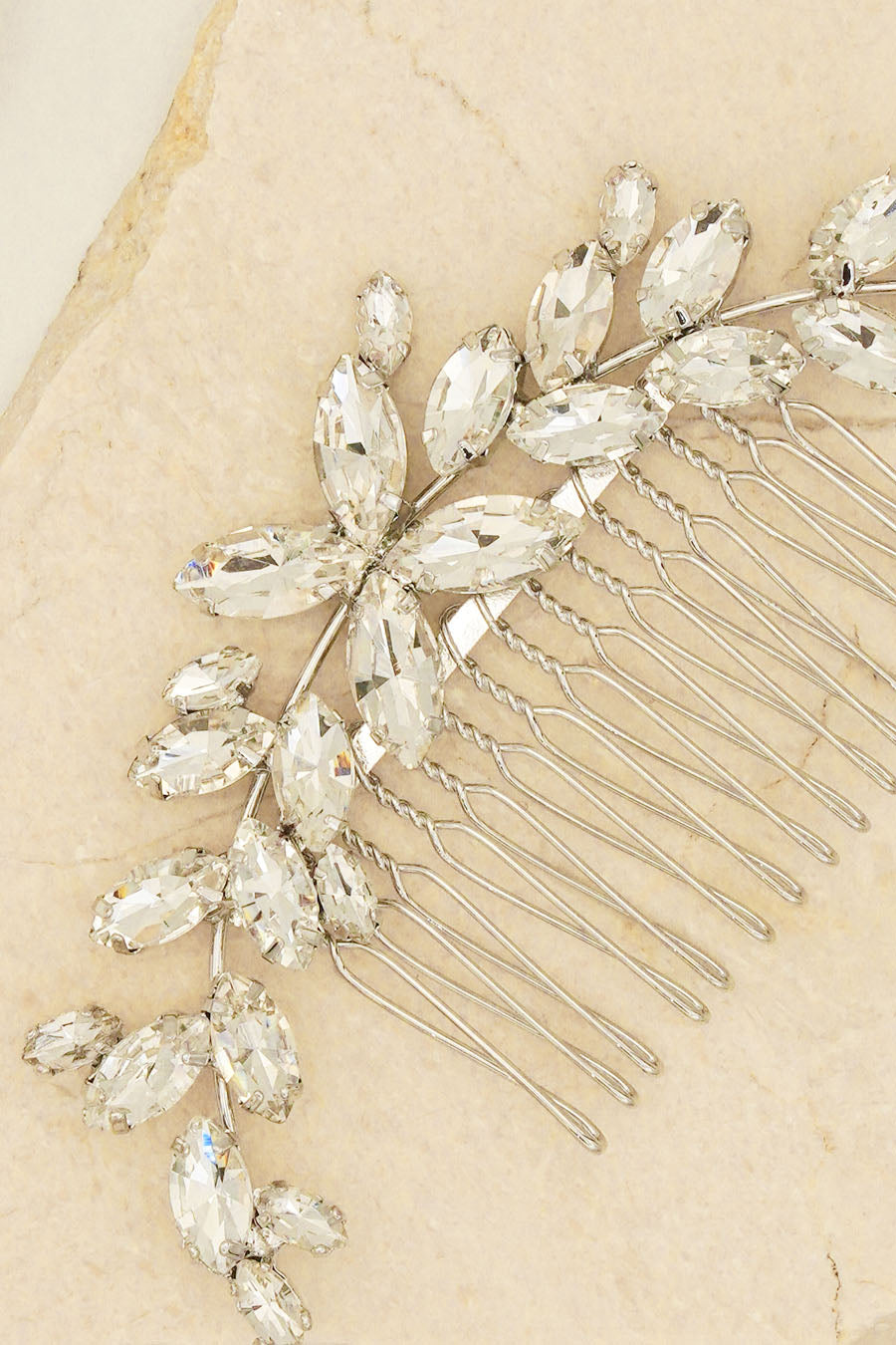 TEARDROP CRYSTALS FLOWERS EMBELLISHED HEADPIECE BRIDAL HAIR ACCESSORIES BY NARIANNA