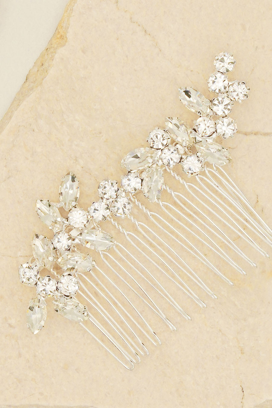 CLEAR DIAMANTE AND TWIST RHINESTONES BRIDAL HAIR ACCESSORIES HAIR CLIP BY NARIANNA