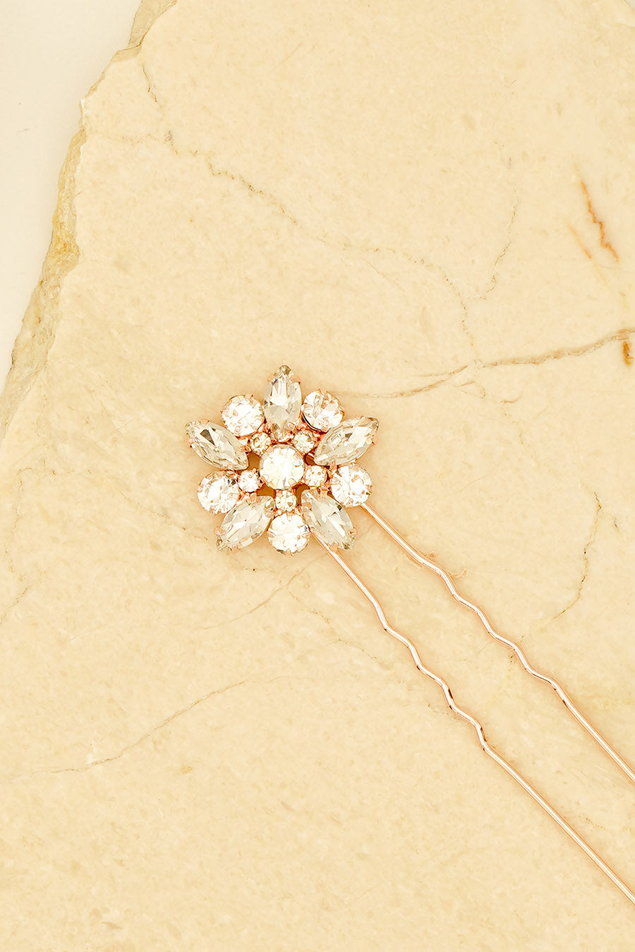 RHINESTONES ENCRUSTED FLORAL STYLES WEDDING HAIR PIN HANDMADE BRIDAL HAIRPIN BY NARIANNA