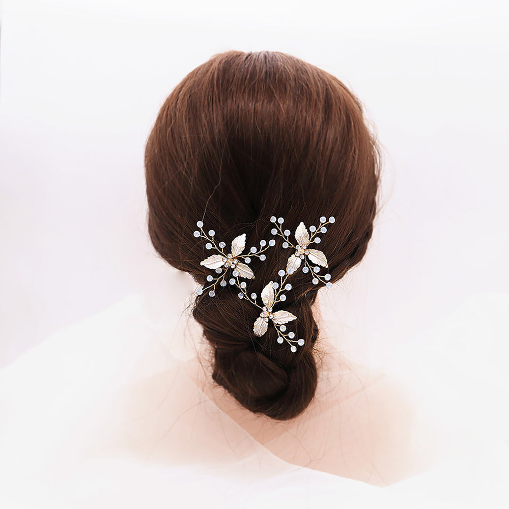 SHINY LEAVES WITH CLEAR CRYSTALS WEDDING HAIR PIN HANDMADE BRIDAL HAIRPIN BY NARIANNA