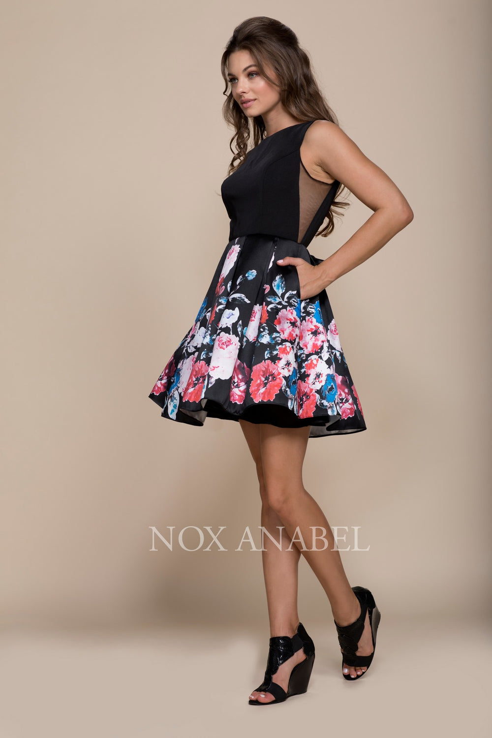 FLORAL PRINTED SIDE CUTOUTS A-LINE SHORT DRESS Q606 BY NARIANNA