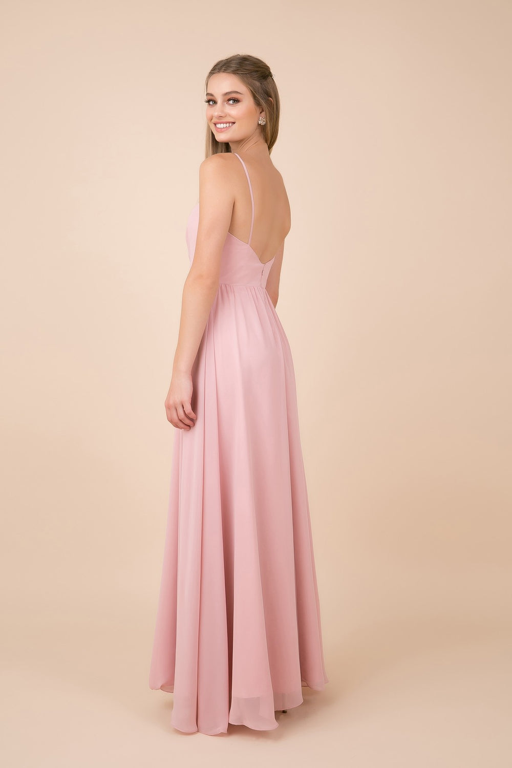 V-NECK LONG CHIFFON SLIP SKIRT BRIDESMAID DRESS_R275 BY NARIANNA
