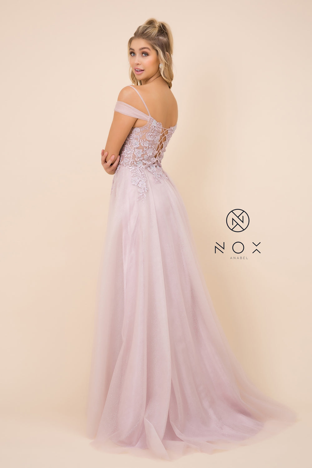 Long Tulle Prom Dress With Off Shoulder Flounce_S265 BY NARIANNA