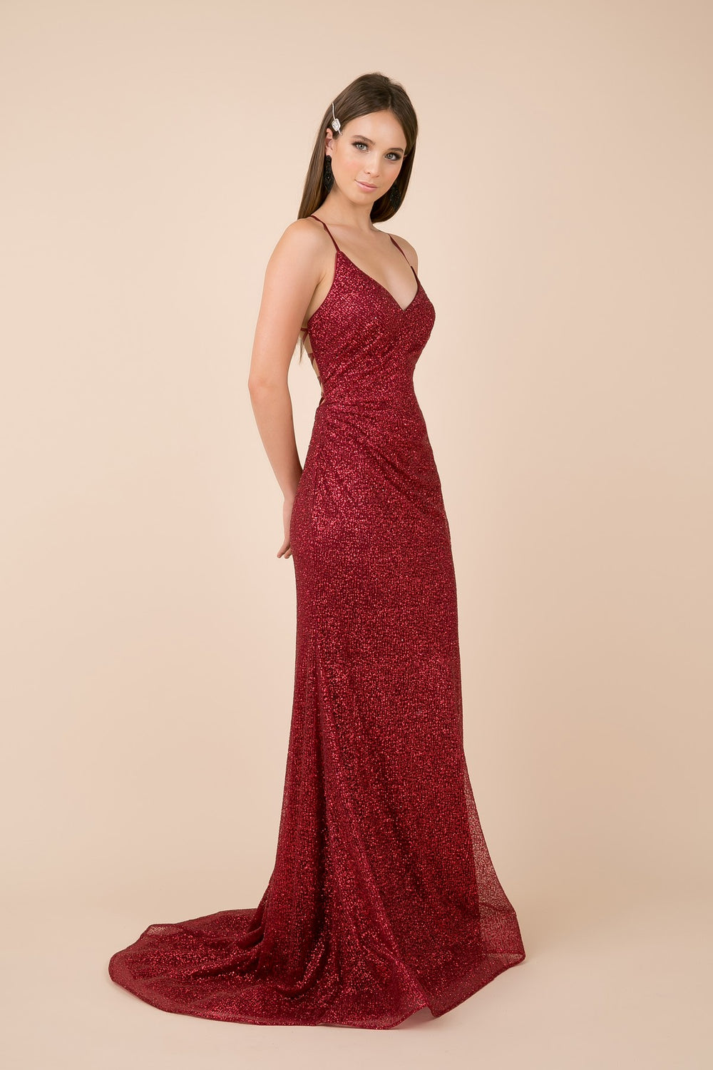 THIN STRAPS V NECKLINE WITH SHIMMERY TRUMPET GOWN_T290 BY NARIANNA