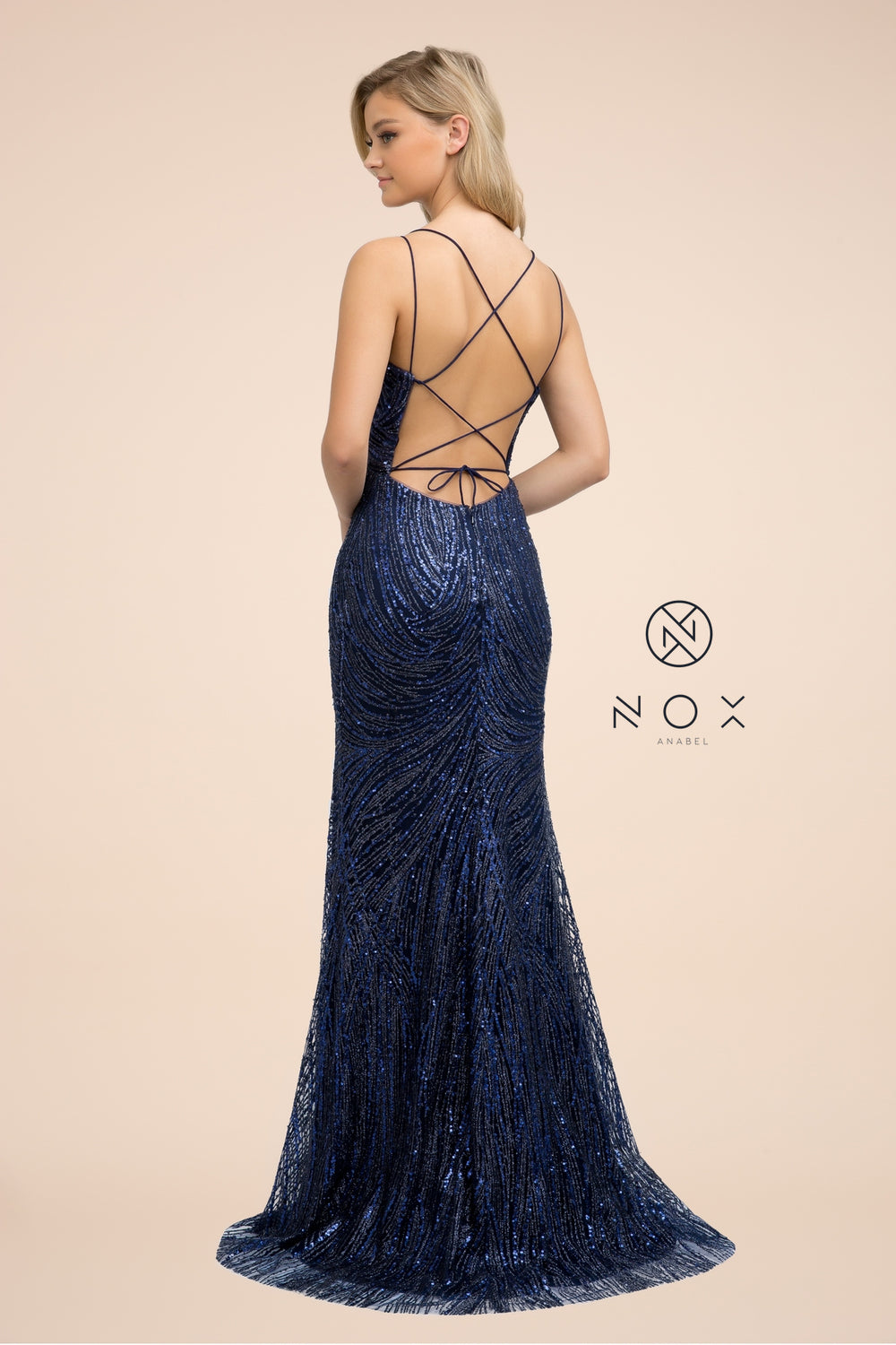 LONG SEQUIN DRESS WITH DUAL SPAGHETTI STRAP_T316 BY NARIANNA