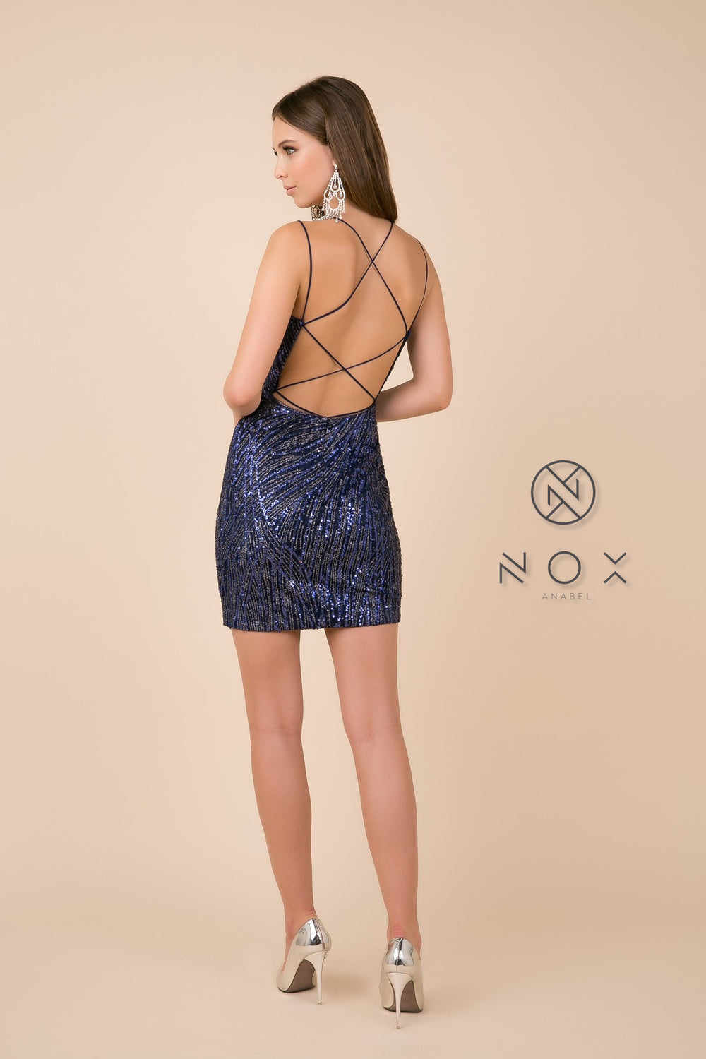 SEQUINED MESH FITTED DRESS LACE BACK_T680 BY NARIANNA