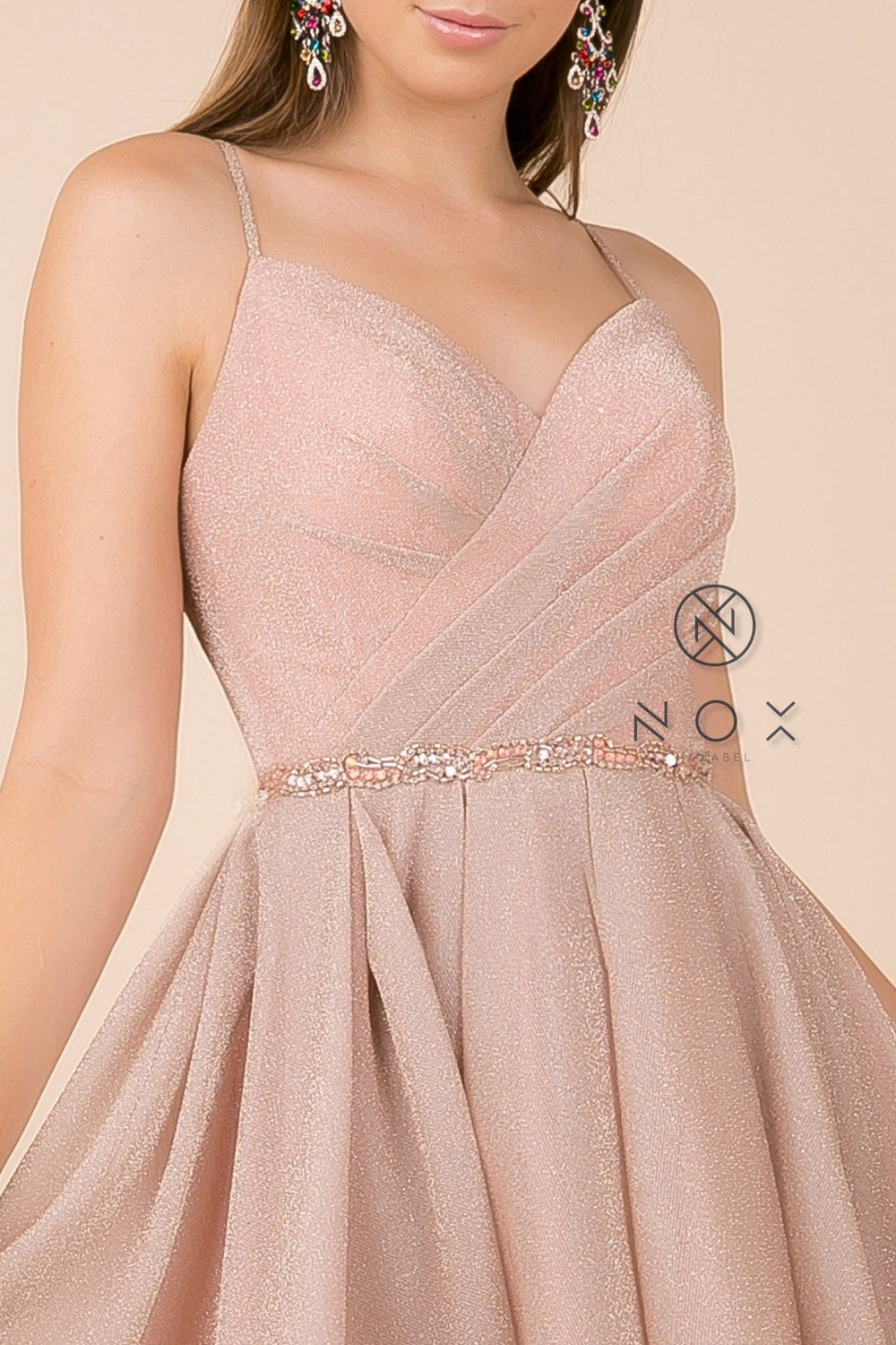 EMBELLISHED-V-NECK-PLEATED-A-LINE-DRESS-SHORT-DRESS-T681-BY-NARIANNA