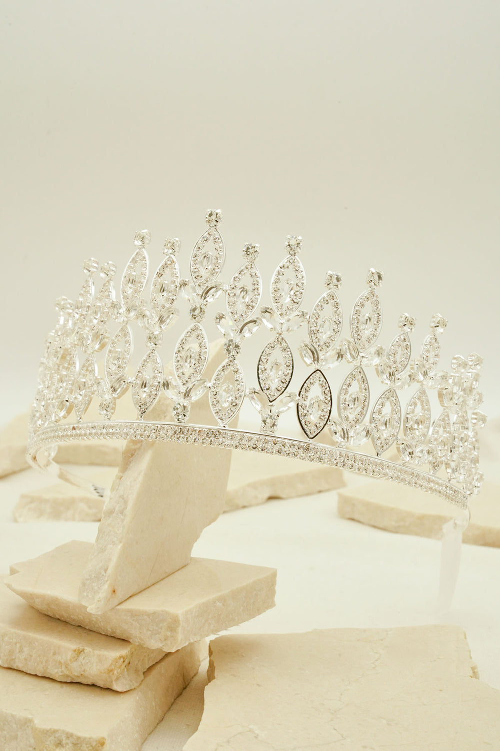 LEAVES ENCRUSTED WITH DIAMANTE AND ZIRCON TIARA FOR BRIDAL WEDDING AND PARTIES BY NARIANNA