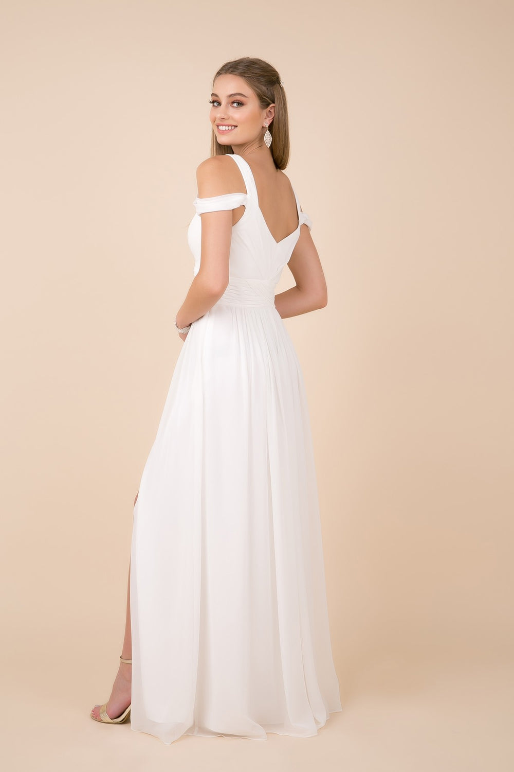 COLD-SHOULDER WITH SLIP SKIRT LONG CHIFFON DRESS_Y277 BY NARIANNA