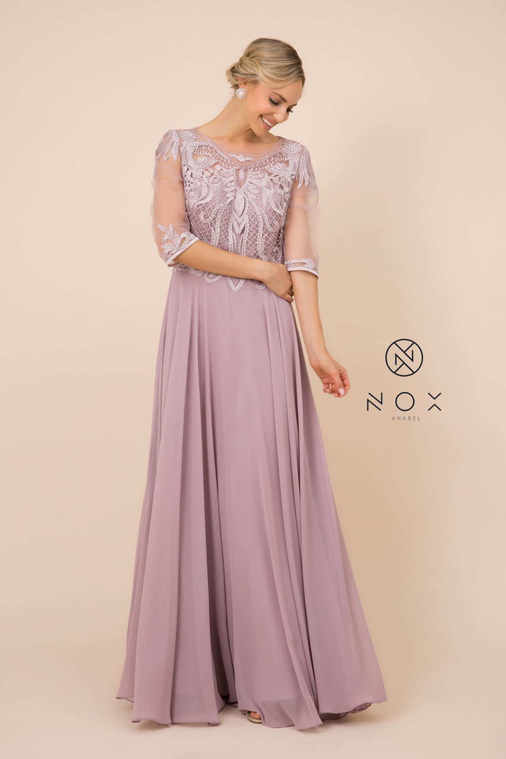 3/4 Sleeve Long Lace Round Round Neck MOB Dress_Y512 BY NARIANNA