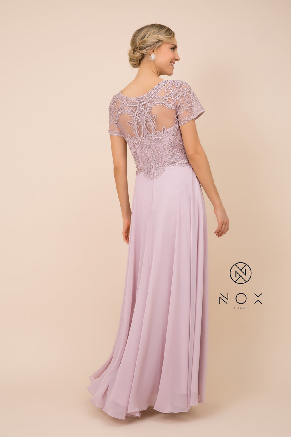 Cap Sleeve Long Beads Round Neck MOB Dress_Y525 BY NARIANNA