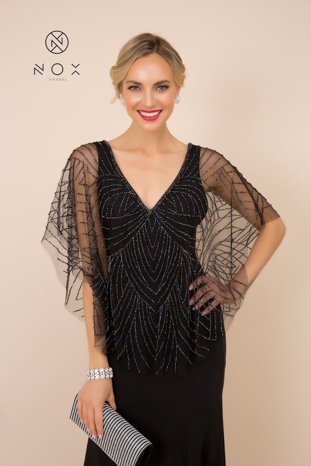 PARTY-PERFECT NET SHRUG TO WEAR WITH YOUR SLEEVELESS GOWNS_Y531 BY NARIANNA