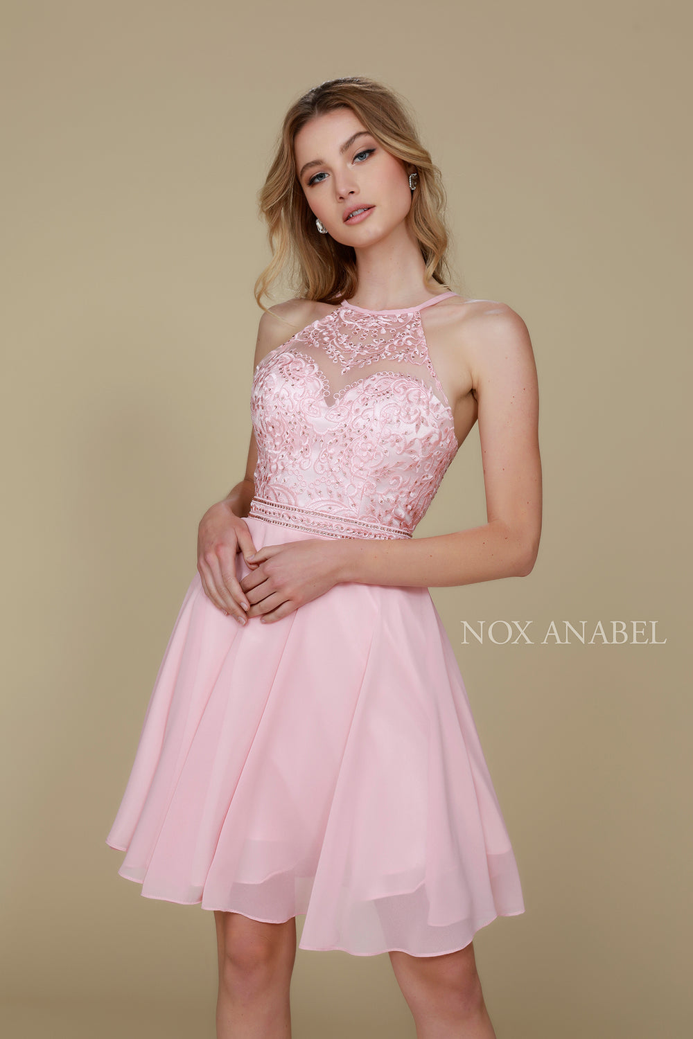 EMBELLISHED ILLUSION HALTER CHIFFON A-LINE HOME COMING DRESS Y629 BY NARIANNA