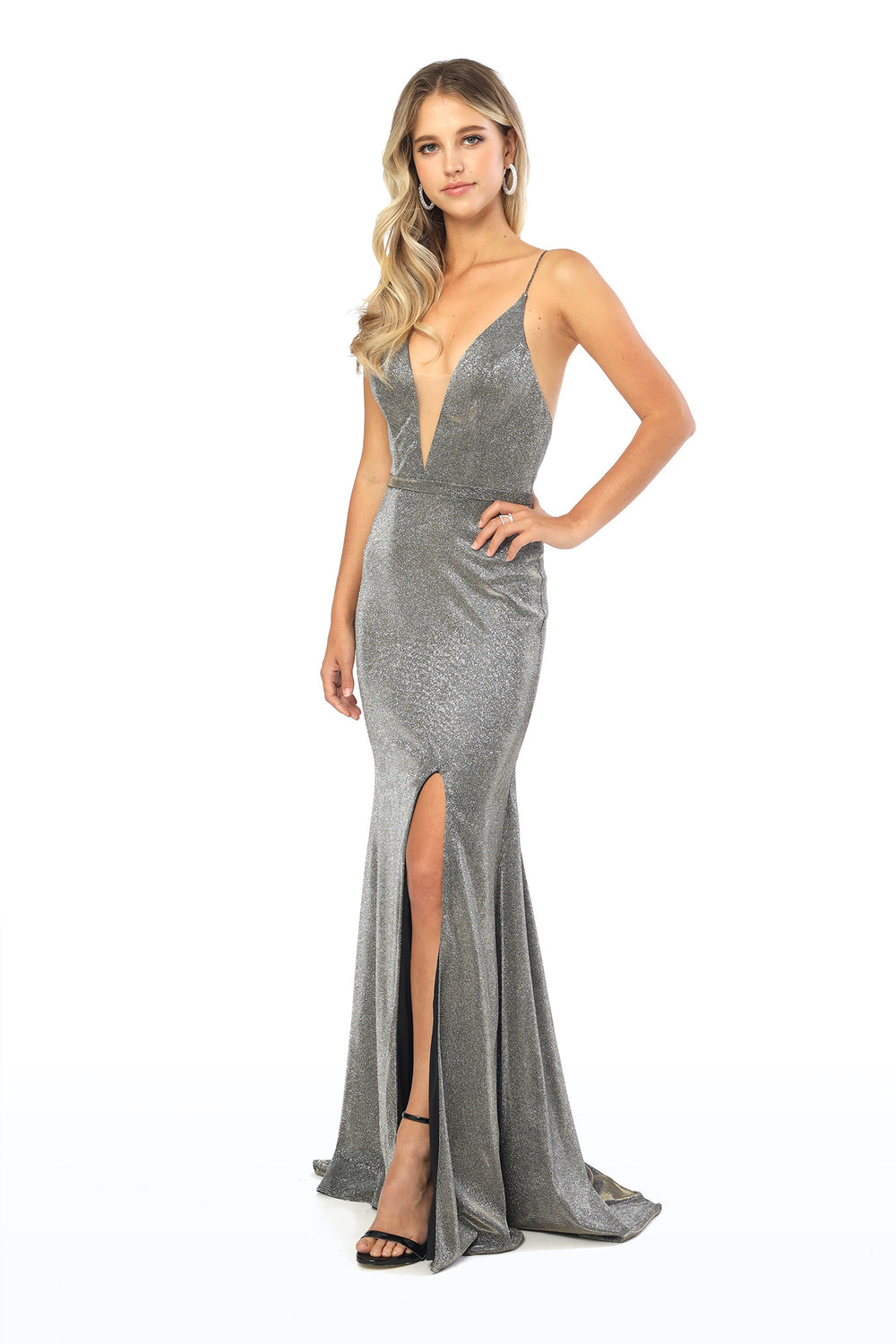 V-Neck Shimmer Long Train Dress_C234 BY NARIANNA