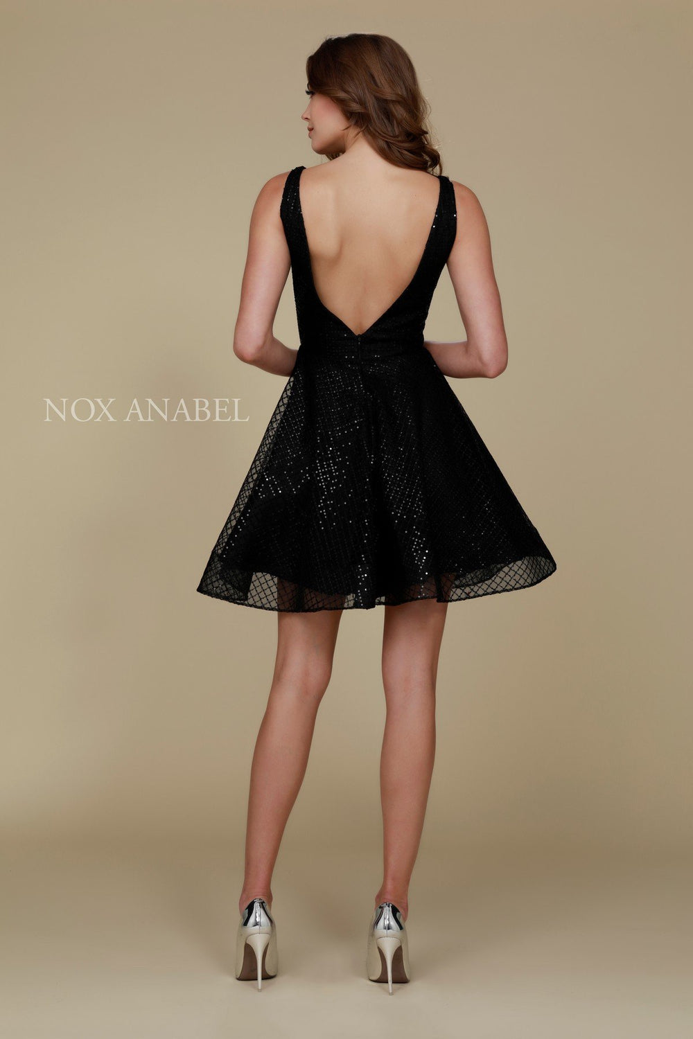 V-SHAPED COCKTAIL DRESS WITH ILLUSION SIDE CUTOUTS M634 BY NARIANNA