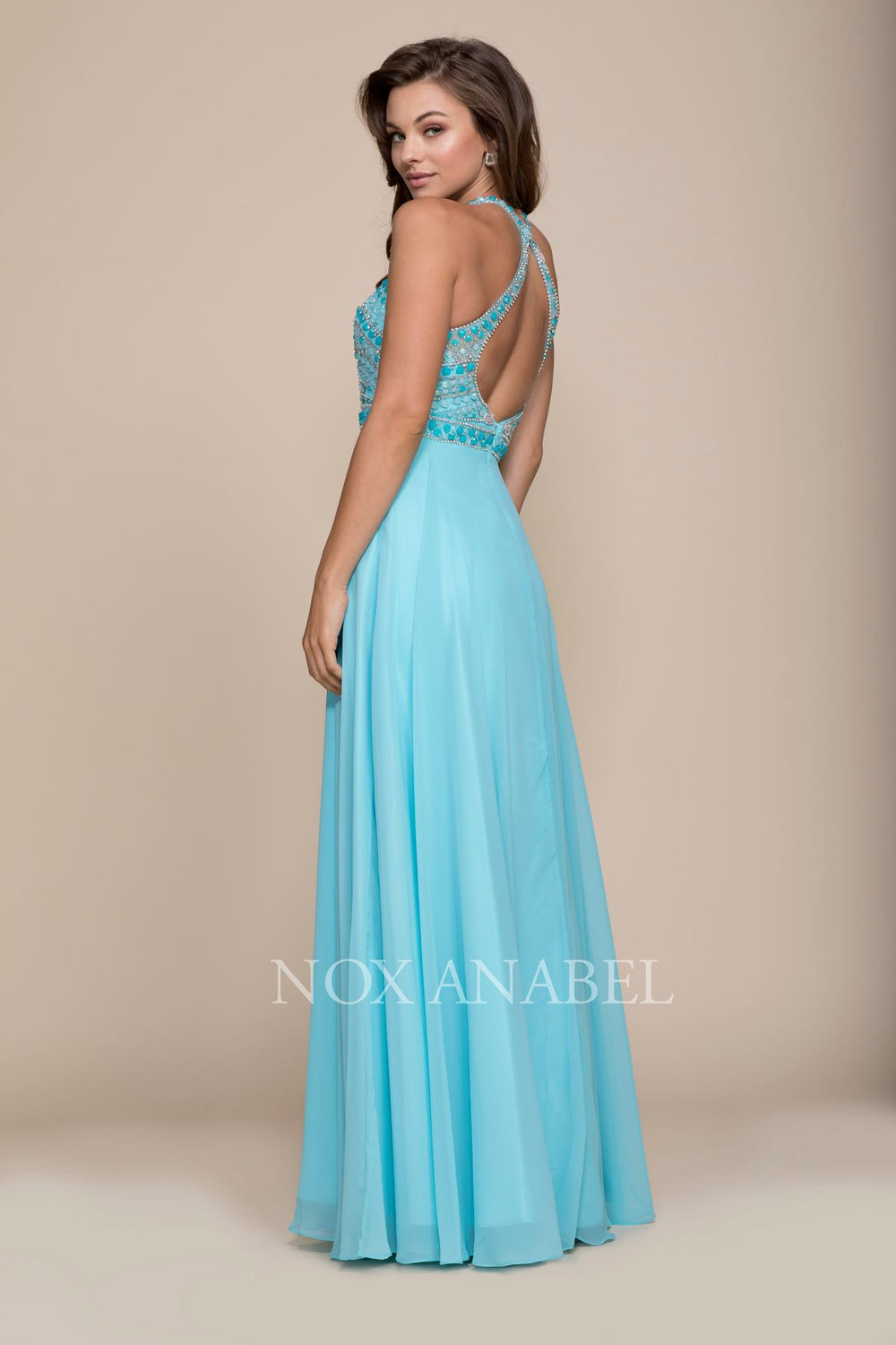 CHIFFON BEADED HIGH HALTER LONG A-LINE SPECIAL OCCASION DRESS BY 8286 NARIANNA