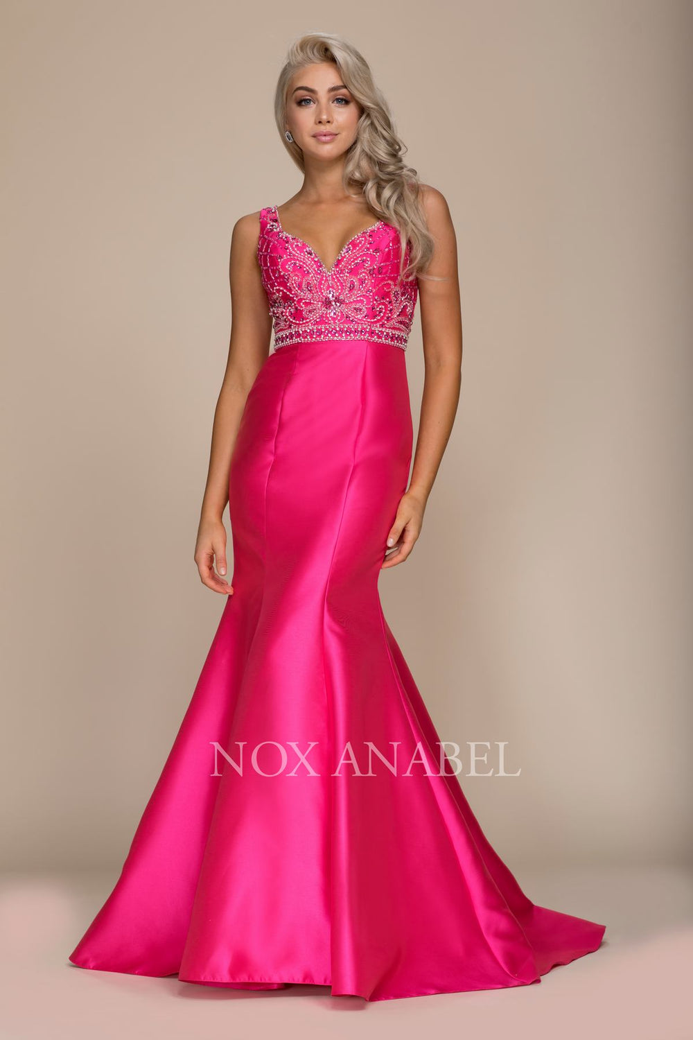 V-NECK BEADED TOP TRUMPET LONG MERMAID GOWN