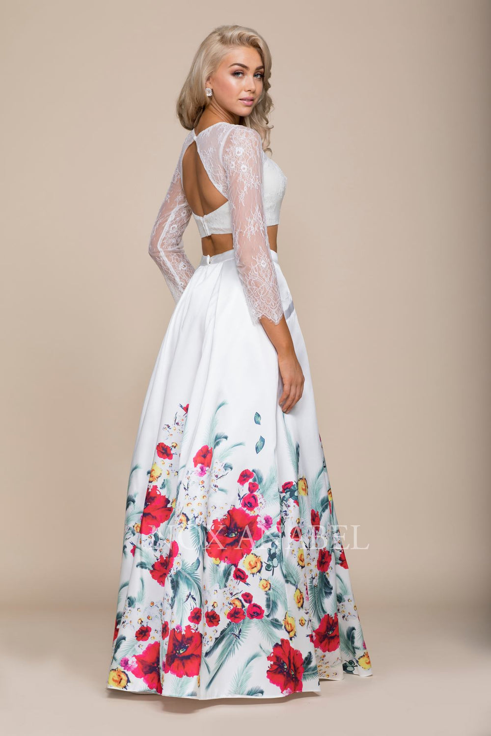 LONG SLEEVE LACED TOP FLORAL EVENING BALL GOWN 8353 BY NARIANNA