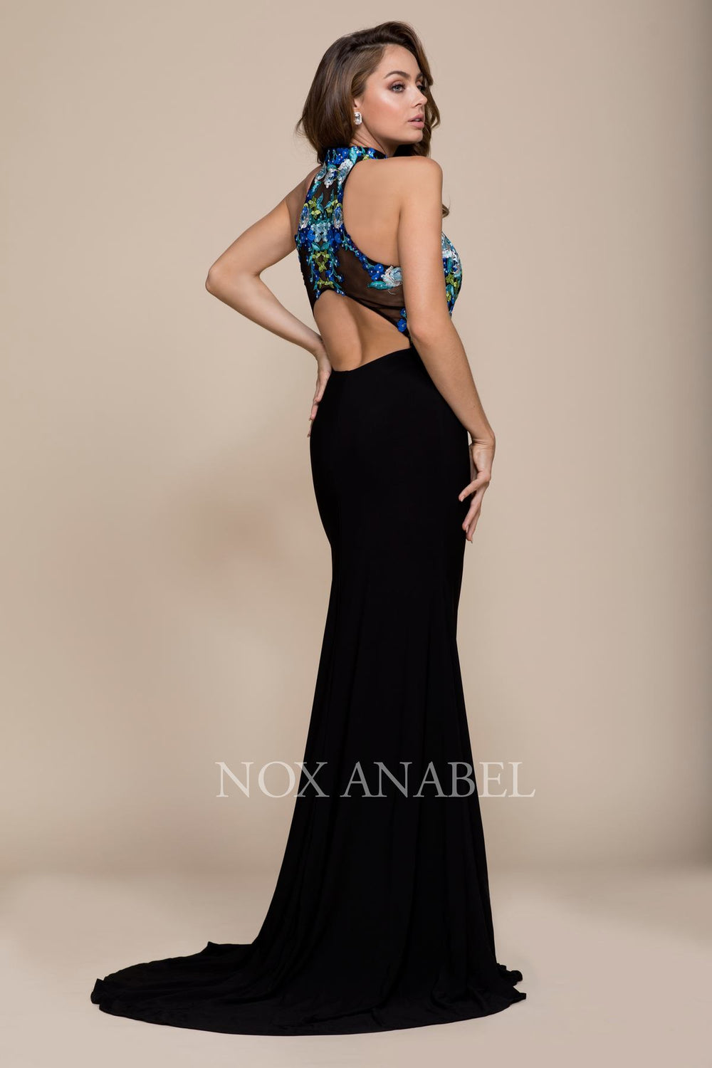 EMBROIDERED SLEEVELESS HALTER TOP PROM EVENING DRESS 8375 BY NARIANNA