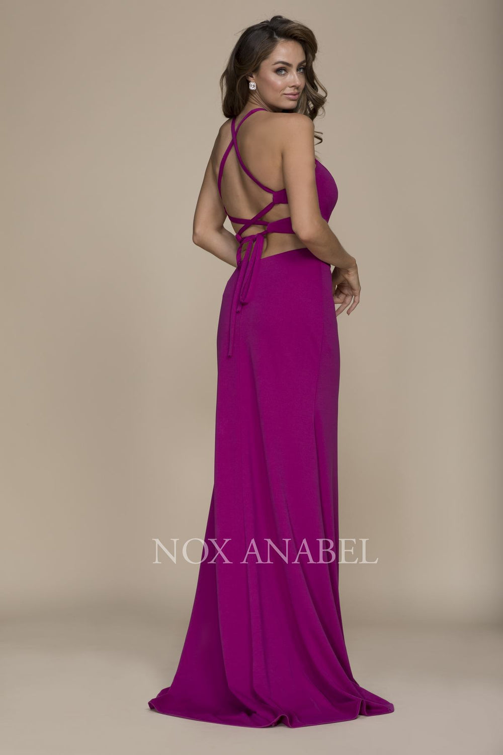 SEXY CUTOUT HALTER NECK LACE-UP BACK SHEATH GOWN PARTY DRESS C026 BY NARIANNA