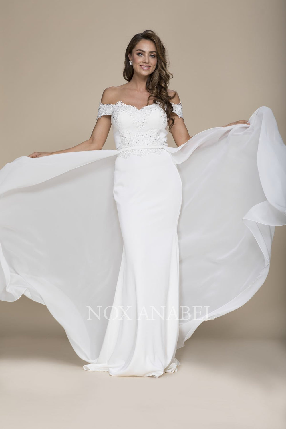 LONG ELEGANT OFF SHOULDER BEADED BODICE DRESS WITH CHIFFON DETACHABLE OVERLAY E014 BY NARIANNA