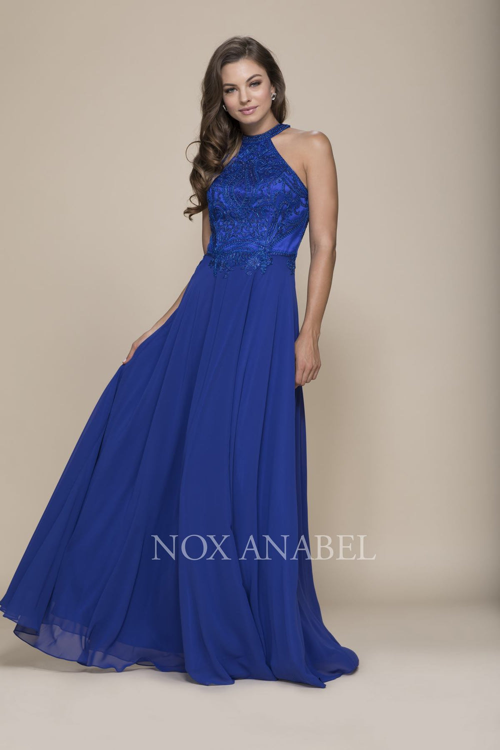 BEAUTIFUL EMBROIDERED HALTER CHIFFON A-LINE PROM DRESS J117 BY NARIANNA