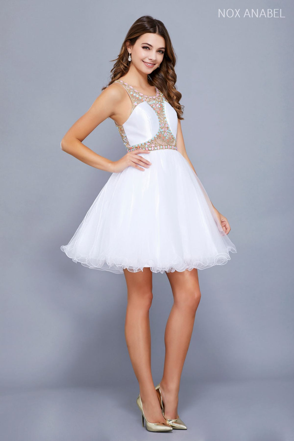 SHORT ILLUSION DRESS WITH BEADED BODICE_6250 BY NARIANNA