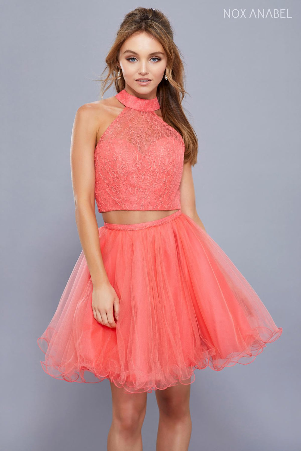 PARTY COCKTAIL TWO-PIECE LACE WITH SHORT TULLE SKIRT