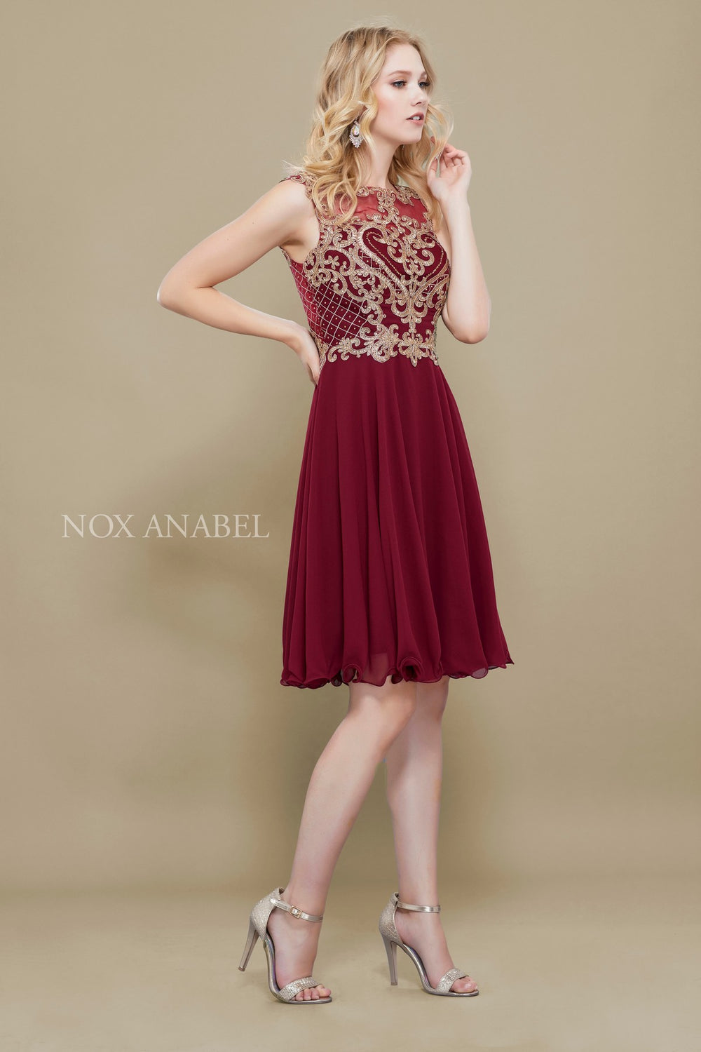 ILLUSION GILDED LACE APPLIQUE A-LINE SHORT SKIRT PROM DRESS 6321 BY NARIANNA