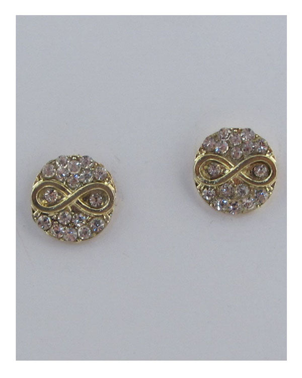 Infinity stud rhinestone earrings