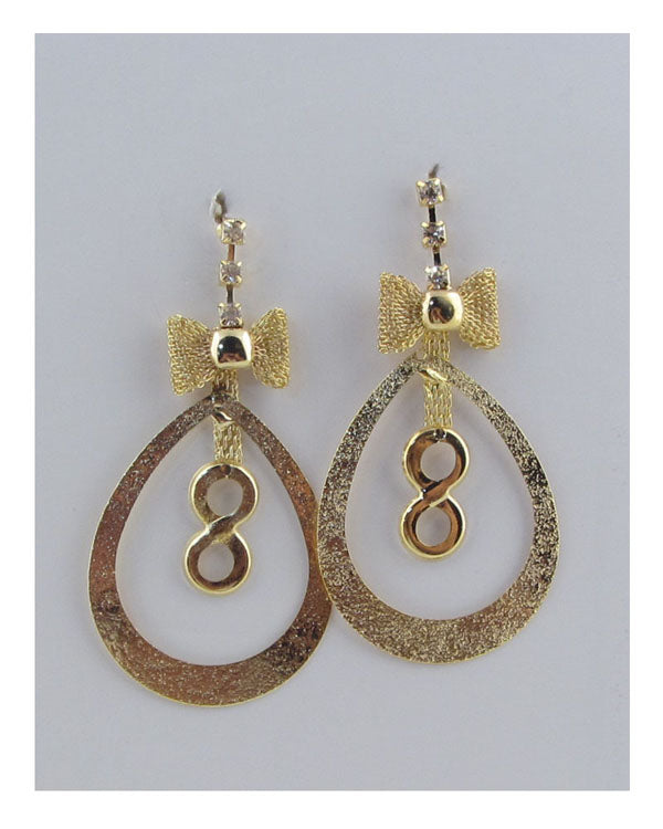 Oval drop earrings w/bow detail