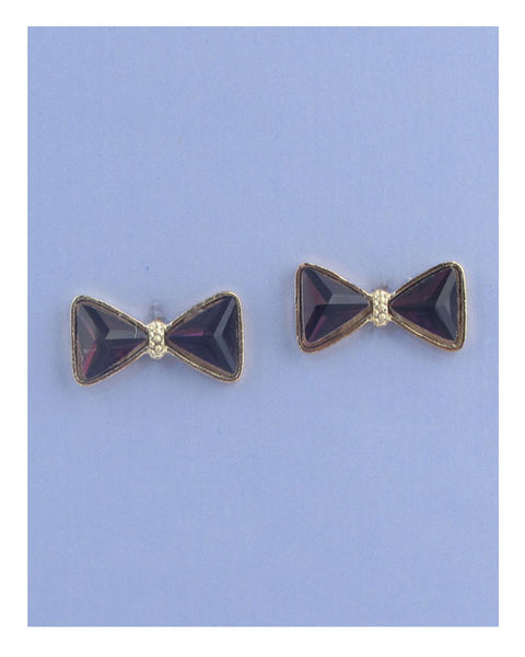 Faux crystal bow stud earrings
