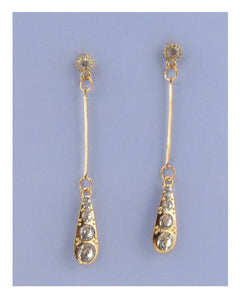 Drop earrings w/rhinestone detail