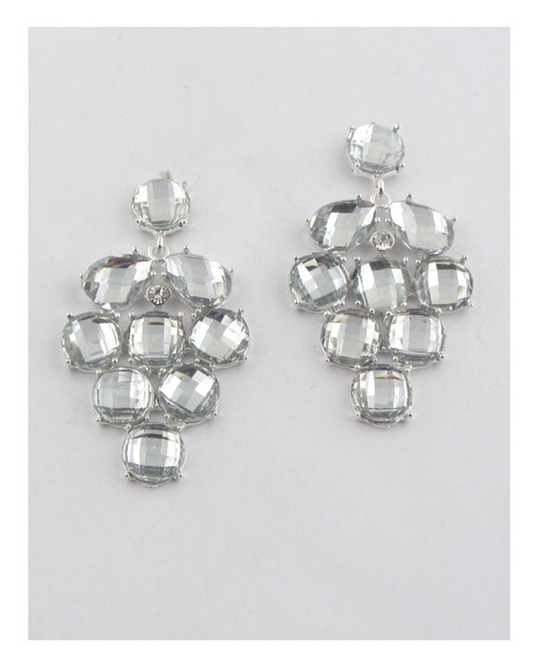Faux rhinestone chandelier earrings