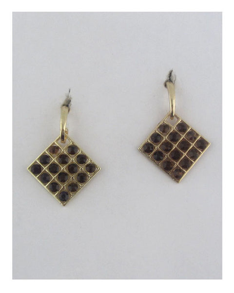 Square earrings w/decorative rhinestones