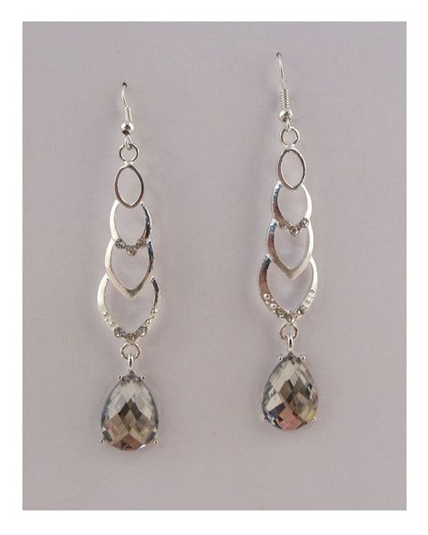 Drop earrings w/faux stone