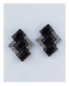 Tri square faux stone earrings