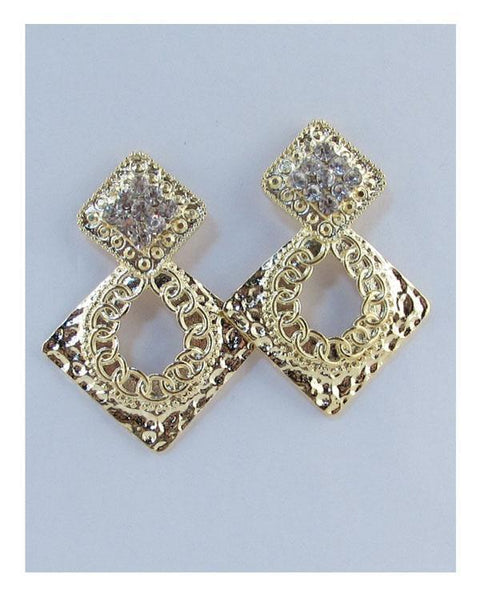 Drop diamond shaped cut out earrings