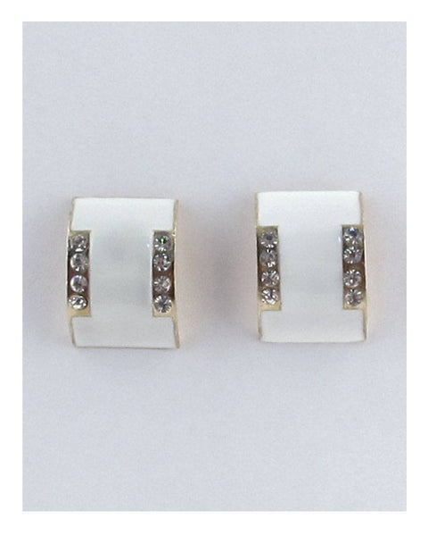 Flat curved earrings w/decorative rhinestones