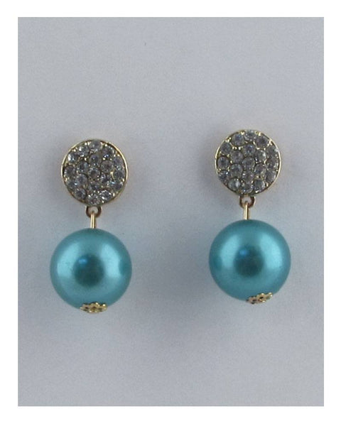 Drum top dangle color pearl earrings