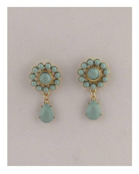Flower drop dangle stud earrings