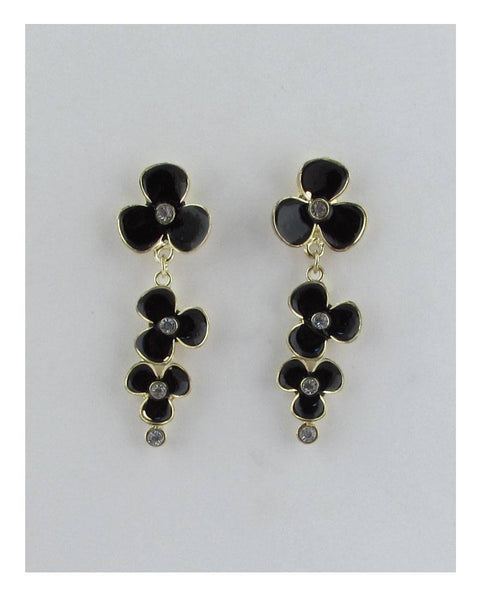 Flower stud linear drop earrings