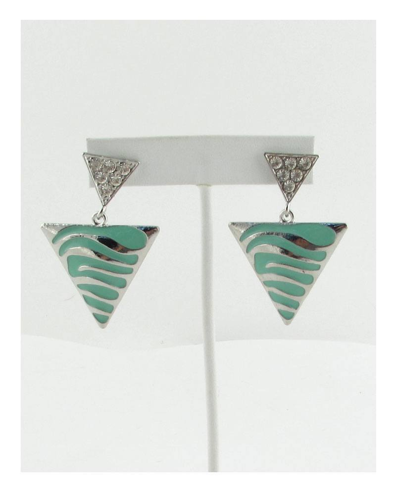 Double triangle stud dangle earrings